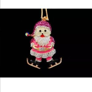 Jewelry - Crystal Pink Santa Claus ice skating Necklace